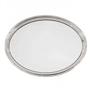 Vassoio ovale argentato argento sheffield stile Rubans cm.39x28