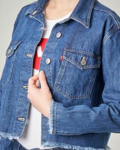 Giubbino jeans cropped blu