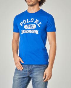 T-shirt blu royal con scritte Polo RL bianche