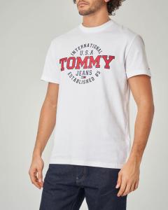 T-shirt bianca con logo e scritte circolari