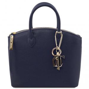 Tuscany Leather TL141265 TL KeyLuck - Borsa a mano in pelle Saffiano - Misura piccola Blu scuro