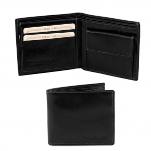 Tuscany Leather TL141377 Exclusive 3 fold leather wallet for men Black