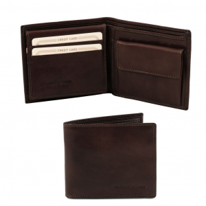 Tuscany Leather TL141377 Exclusive 3 fold leather wallet for men Dark Brown