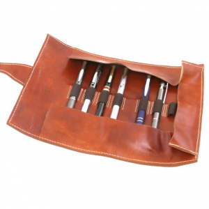 Tuscany Leather TL141620 Exclusive leather pen holder Dark Brown