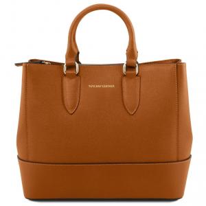 Tuscany Leather TL141638 TL Bag - Borsa a mano in pelle Saffiano Cognac