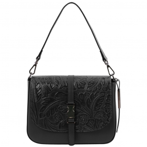 Tuscany Leather TL141755 Nausica - Leather shoulder bag with floral pattern Black