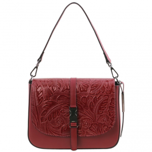 Tuscany Leather TL141755 Nausica - Leather shoulder bag with floral pattern Red