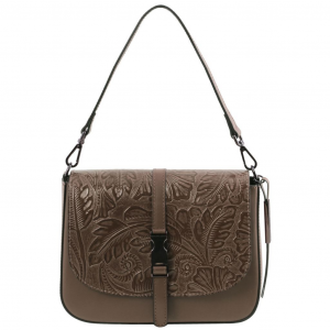 Tuscany Leather TL141755 Nausica - Leather shoulder bag with floral pattern Dark Taupe