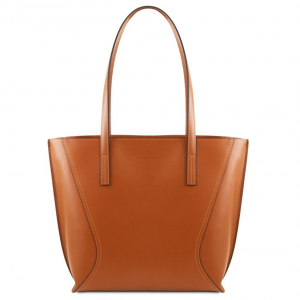 Tuscany Leather TL141790 Nemesi - Borsa shopping in pelle Cognac