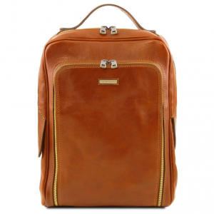 Tuscany Leather TL141793 Bangkok - Leather laptop backpack Honey