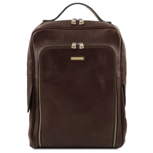 Tuscany Leather TL141793 Bangkok - Leather laptop backpack Dark Brown
