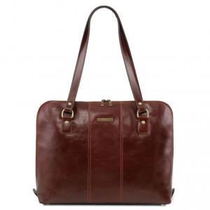 Tuscany Leather TL141795 Ravenna - Esclusiva borsa business per donna Marrone