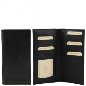Tuscany Leather TL140784 Exclusive leather 2 fold vertical wallet Black
