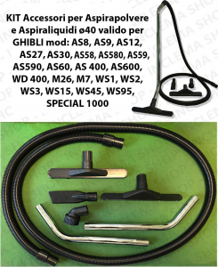 KIT tubo flessibile e Accessori per Aspirapolvere e Aspiraliquidi ø40 valido per GHIBLI vari modelli