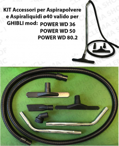 KIT tubo flessibile e Accessori per Aspirapolvere e Aspiraliquidi ø40 valido per GHIBLI mod: POWER WD 36, POWER WD 50, POWER WD 80.2