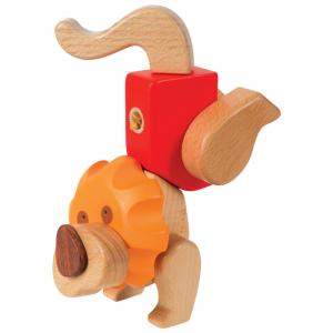 Kit costruzioni incastro leone in legno pregiato gioco per bambini