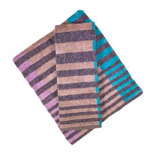 Coppia di asciugamani set 1+1 in spugna Carrara NEBRASKA lilla