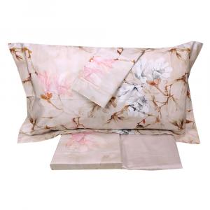 Set lenzuola matrimoniale 2 piazze MIRABELLO Irises in raso di cotone rosa