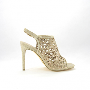 Sandalo donna in color nudo brillante con strass.