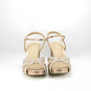 Sandalo cerimonia donna elegante rosa glitter brillante con cinghietta regolabile.