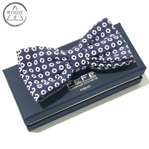 Fefè Glamour - Papillon in pura seta - Blu navy, bianco