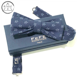 Fefè Glamour - Papillon in puro cotone Chambray - Blu navy, stelle.