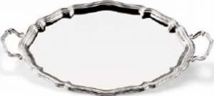 Vassoio ovale con manici placcato argento stile 700 cm.47x37