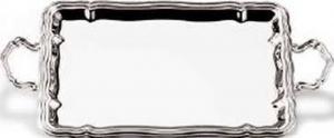 Vassoio rettangolare con manici placcato argento stile 700