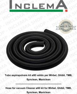 Tubo per Aspirapolvere flessibile lunghezza 5 MT kit ø50 per Wirbel, Ghibli, TMB, Maxiclean, Synclean