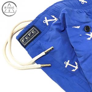 Fefè Glamour - Boxer mare ricamato - Azzurro, ancore bianche - SS 2019