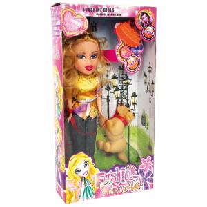 Bambola con cagnolino e borsetta