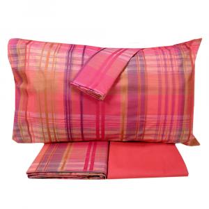 Set lenzuola 2 piazze RANDI Tinto in filo scozzese TORNADO rosso