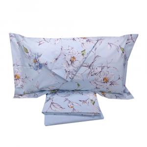 Set lenzuola matrimoniale 2 piazze Gabel CHARM azzurro floreale in percalle
