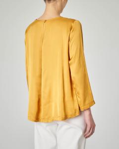 Blusa in crêpe di viscosa gialla manica lunga