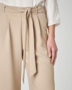 Pantalone culotte beige con fusciacca in vita
