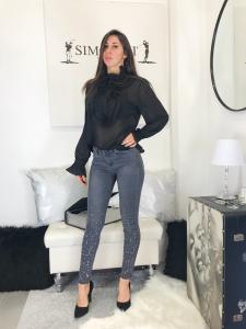 Jeans donna skinny elasticizzato grigio con glietter argento al fondo