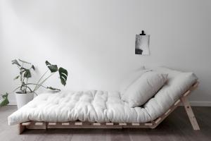 Divano letto in legno con futon Roots 140