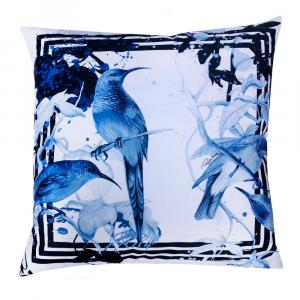 Cuscino decorativo ROBERTO CAVALLI 40x40 cm in raso BIRD RAMAGE blu
