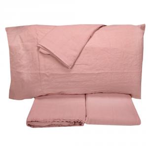 Completo lenzuola matrimoniale 2 piazze in puro lino LOFT sepia rose - rosa antico