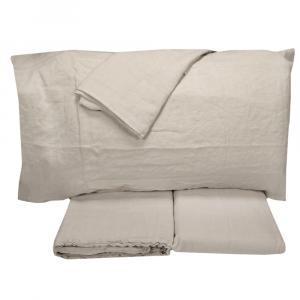 Completo lenzuola matrimonale 2 piazze in puro lino LOFT - pietra