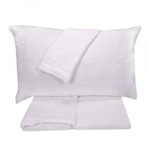 Completo lenzuola matrimonale 2 piazze in puro lino LOFT - bianco