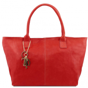 Tuscany Leather TL141207 TL KeyLuck - Borsa shopping in pelle Rosso Lipstick