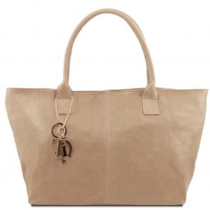 Tuscany Leather TL141207 TL KeyLuck - Borsa shopping in pelle Talpa chiaro