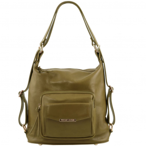 Tuscany Leather TL141535 TL Bag - Borsa donna in pelle convertibile a zaino Verde Oliva