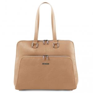 Tuscany Leather TL141630 Lucca - Borsa business TL SMART in pelle morbida per donna Champagne