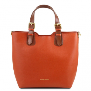 Tuscany Leather TL141696 TL Bag - Borsa shopping in pelle Saffiano Brandy