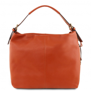 Tuscany Leather TL141719 TL Bag - Borsa hobo in pelle morbida Brandy