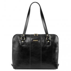 Tuscany Leather TL141795 Ravenna - Esclusiva borsa business per donna Nero
