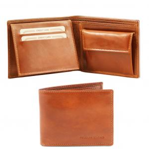 Tuscany Leather TL140763 Esclusivo portafoglio uomo in pelle 3 ante con portaspiccioli Miele