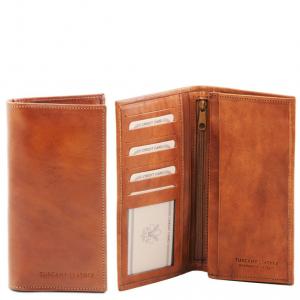 Tuscany Leather TL140777 Esclusivo portafoglio verticale in pelle uomo 2 ante Miele